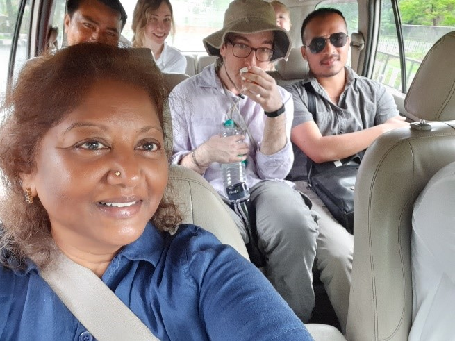 Group photo in vehicle